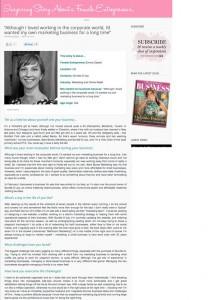 Bare Bones Marketing Female Entrepreneur PR Coverage
