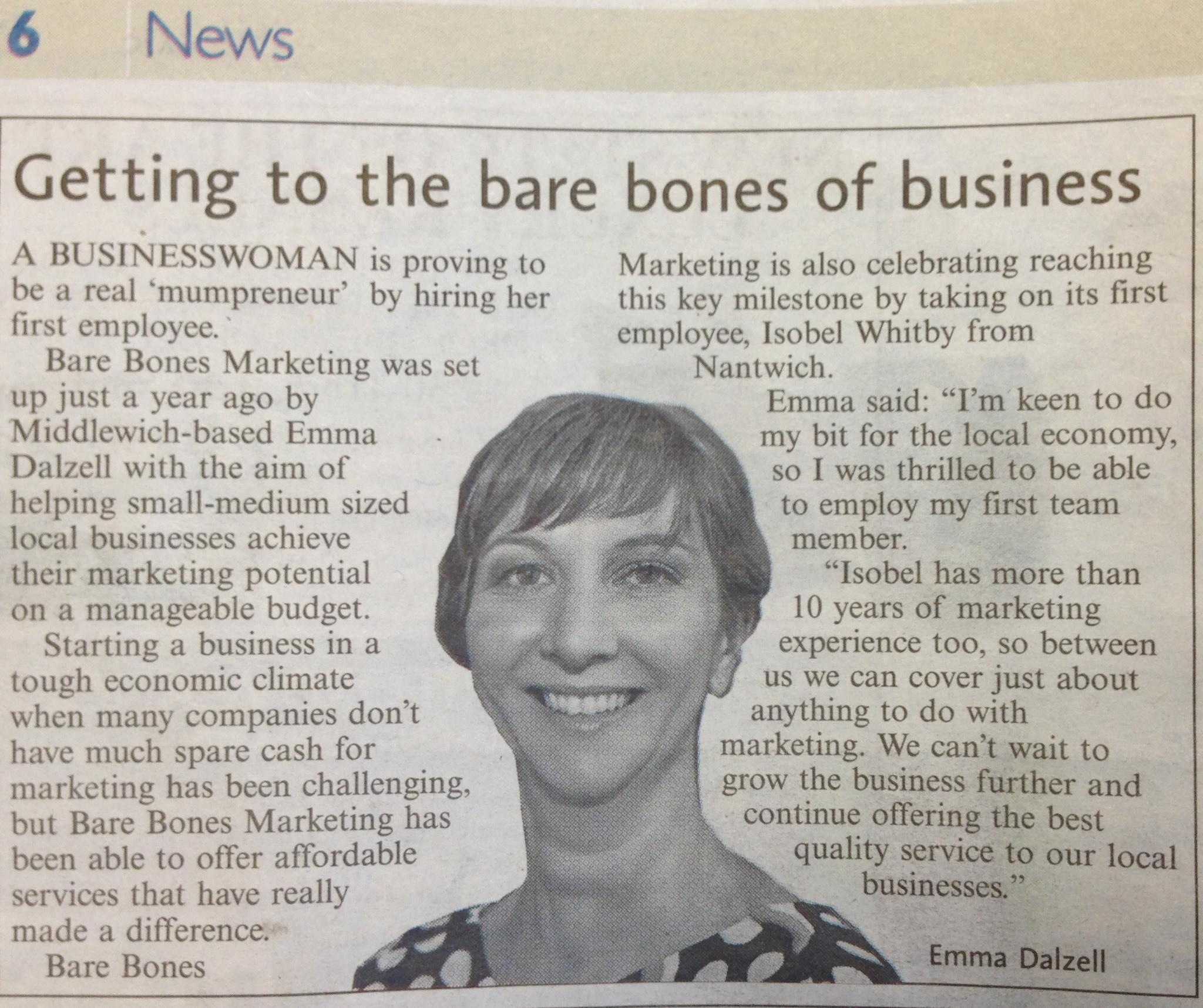 Bare Bones Marketing PR Milestone Middlewich Guardian