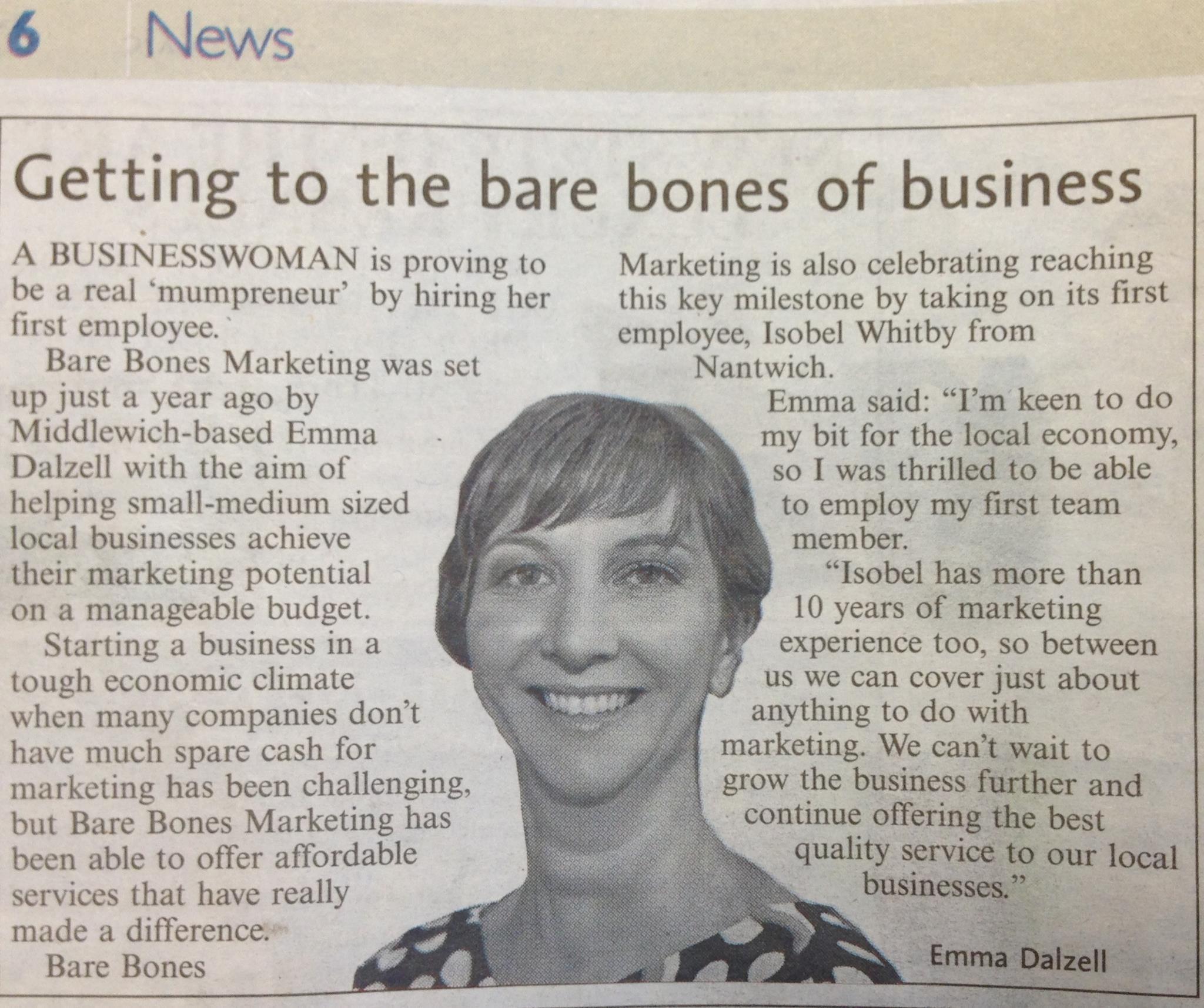 Bare Bones Marketing PR Milestone Middlewich Guardian