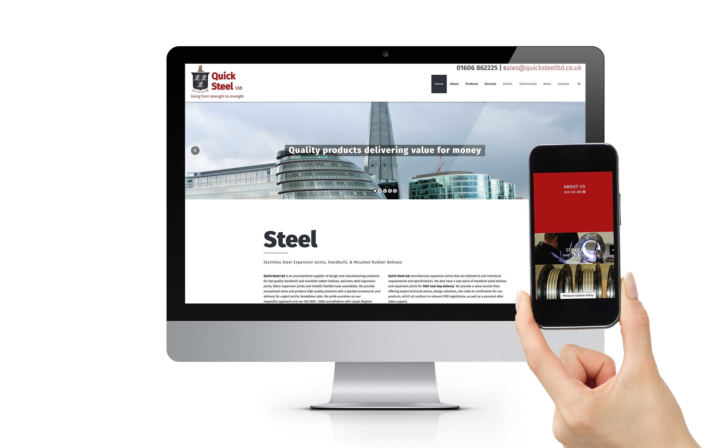 quick steel website app